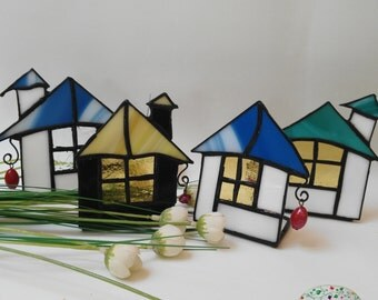 House candle glass Tiffany.Portavelas glass tifannys House. Container candles. Unisex gifts.