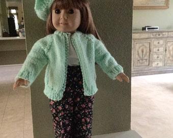 Slacks, Blouse, Sweater, Hat Set for American Girl Doll