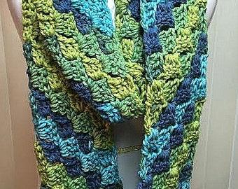 Crochet Scarf, Infinity Scarf, Chunky Scarf, Blue Scarf, Green Scarf, Winter Scarf, Knit Scarf, Scarf, Circle Scarf, Chunky Cowl, Cowl