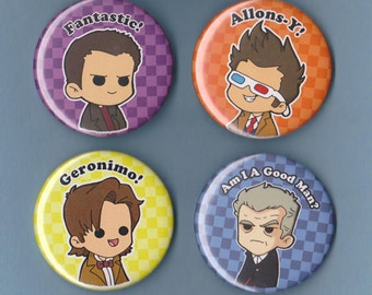 The Doctors 2.25 Pinback Buttons (4 Pack), Eccleston, Tennant, Smith, Capaldi