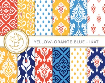Ikat Digital Paper: YELLOW, ORANGE and BLUE Ikat paper pack. Printable pattern paper. Instant download paper.