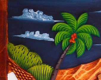 Fisher on Lake Nicaragua | wood panel, hand-carved and hand-painted