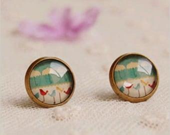 Spring Minimal Pastel Blue Birds. Handmade Vintage Boho Glass Stud Earrings. Jewellery Gift for Women, Girlfriend, Wife, Fiancee, Girl.