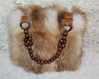 Fox fur bag with wooden handles READY TO SHIP