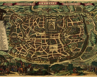 1660 Canvas Map of the City of Jerusalem Israel