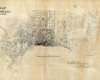 1860 Map of Nashville Tennessee