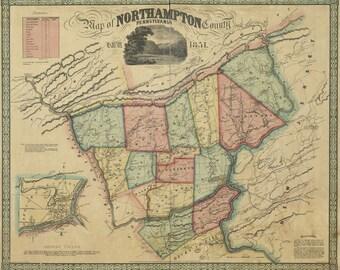1851 Map of Northampton County Pa Landowner & Farm Names