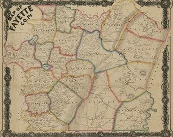 1858 Map of Fayette County Pa Uniontown Monongahela River Masontown