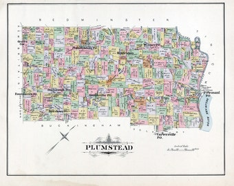 1891 Map of Plumstead Township Bucks County Pennsylvania