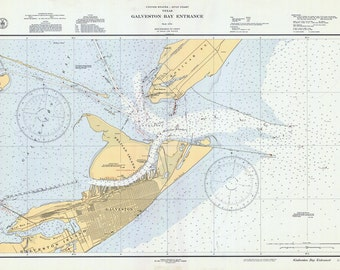 1936 Nautical Map of Galveston Bay Texas