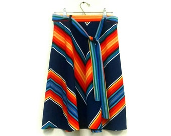 Vintage 1970s Rainbow Striped A- Line Skirt / vintage rainbow colorful skirt / 1960s 1970s a line skirt /