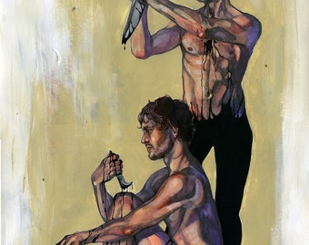"SALE Hannibal and Will Graham original 12x16"" painting"