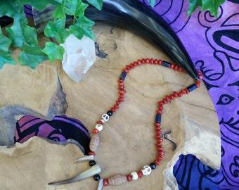 Tribal necklace tribal shaman saga seeds howlite White-skulls terracotta horn fang mother of pearl unisex
