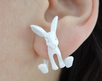 Handpainted white bunny with nose enamled black double earrings, earrings, Christmas jewelry,Christmas gift, 3d rabbit earrings, earrings