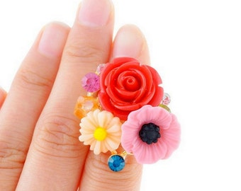 Adjustable Ring Flower ,Vintage Floral Ring,gift for her,bridesmaid,bouquet for mother,bouquet,red rose ring,Wedding jewelry,Bridal jewelry