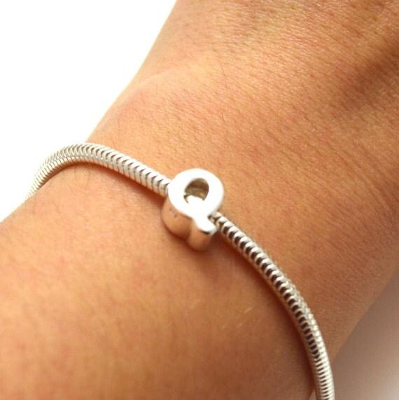 Silver Alphabet Beads: Sterling Silver Alphabet European Beads, Letter Q