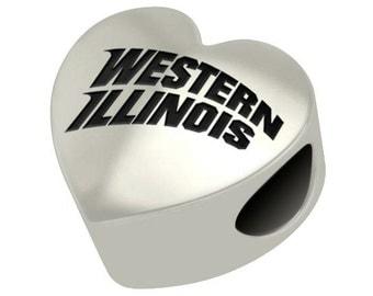 Western Illinois Bulldogs Heart Bead Fits Most European Style Charm Bracelets