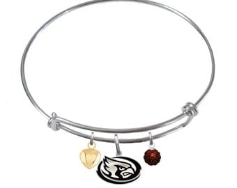 Iowa State Cyclones Sterling Silver Adjustable Bangle Bracelet. 2 Charm Styles Available