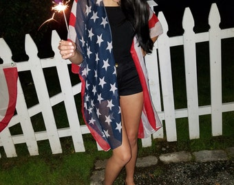 4th of july,  flag kimono wrap, beach coverup, stars and stripes, independance day, red white and blue, american flag kimono