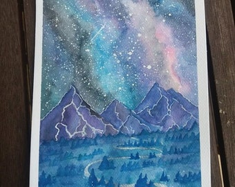 Purple mountains original watercolor painting