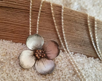 Dogwood Sterling Silver and Bronze Floral Flower Necklace