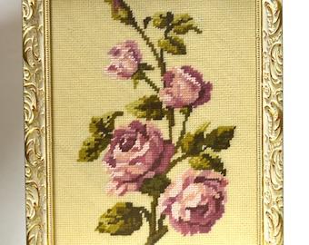 Cross Stitch Rose, Counted Cross Stitch Framed
