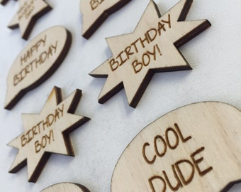 10 x Wooden Birthday Embelishments // Birch // Cool Dude / Birthday Boy Girl / Awesome Day