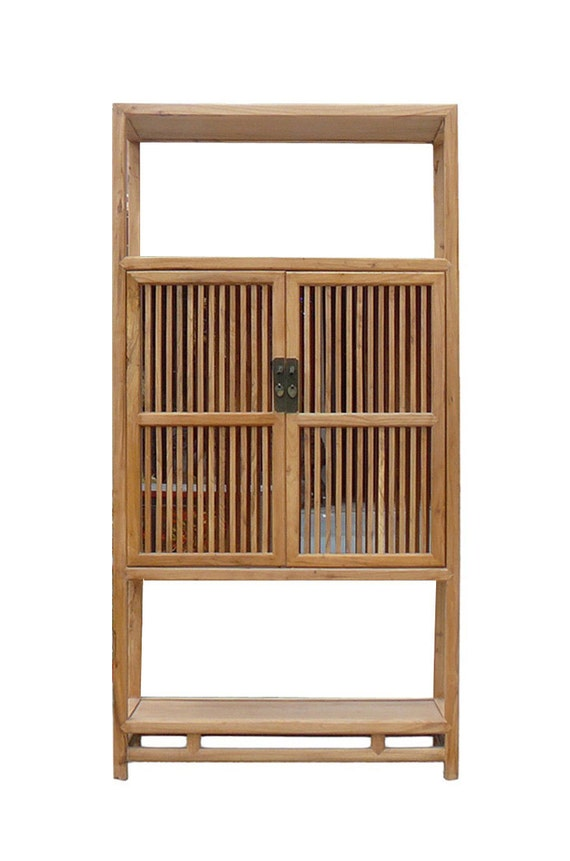chinese light natural raw wood shutter doors bookcase display