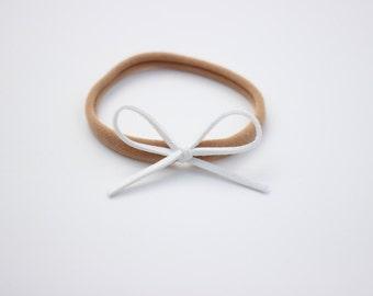 Petite White Bow Headband