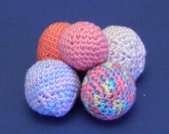 5 Handmade crocheted balls in various colours