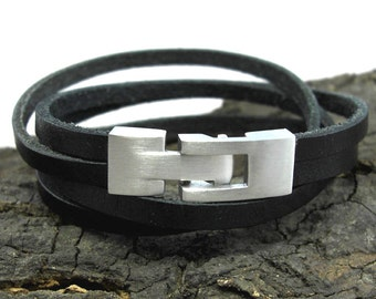 Black leather bracelet with stainless steel Cap