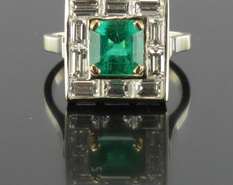 Emerald diamond ring white gold 18K modern chopsticks