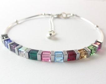 Sterling Silver Rainbow Swarovski Crystal Bracelet, Swarovski Cube