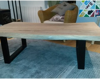 Table low wood massif and metal