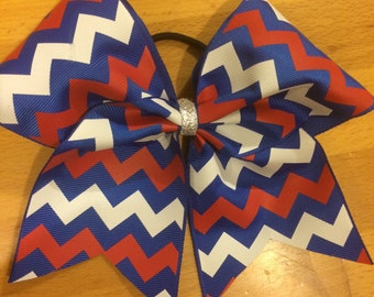 Chevron Cheer leader bow  red, white and blue
