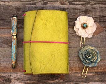 Luxury Leather Travelers Notebook - Chartreuse - Leather Quill Shoppe - Leather Journal - Green Leather - Gift for Mom - Planner- Greenery