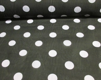 Black with White Polkadot Printed Polycotton Fabric. Price Per Metre.