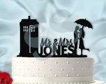 Mr and Mrs Personalized Tardis Dr Who Inspired Wedding Cake Topper