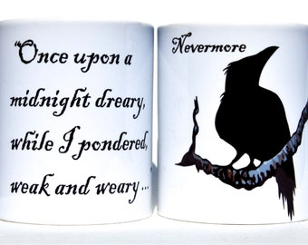 "The Raven ""Nevermore"" mug free message on base by Tattoo Mug Lady"