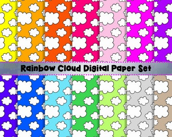 Rainbow + White Doodle Clouds Digital Paper Set - Scrapbook Paper - 14 Sheets - 300dpi - 12x12 - PNG - Commercial/Personal, Instant Download
