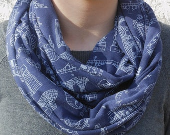 Seville Architecture Infinity Scarf, Screen Printed (Blue)