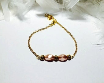 Bracelet Pearl fishing and romantic gold