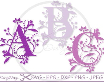Monogram Letters SVG, Alphabet svg files, svg files for cricut, svg font files, silhouette files DXF, monogram svg, eps, jpeg, dxf files