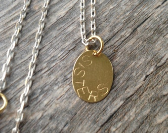 Sisters Hand Stamped Necklace