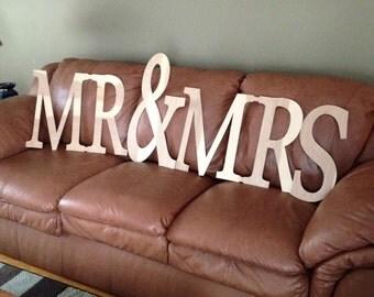 MR&MRS Wooden Monogrm Wall Decor
