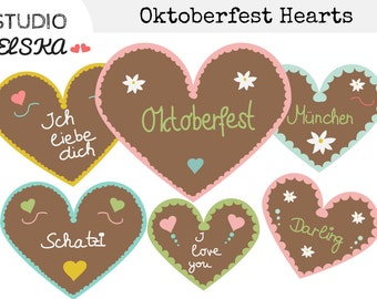 Oktoberfest Gingerbread Hearts Clipart