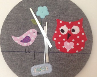 Wall clock patchwork OWL
