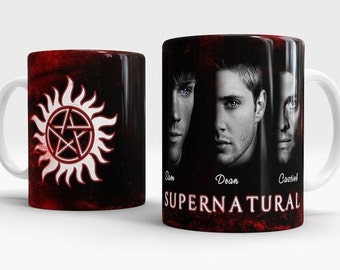 Supernatural mug, Sam, Dean, Castiel coffee mug, Supernatural cup