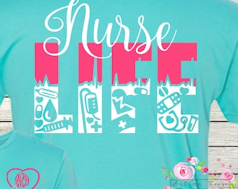 Nurse Life Personalized Monogrammed T-Shirt RN LPN NurseLife Long Sleeved Available Raglan