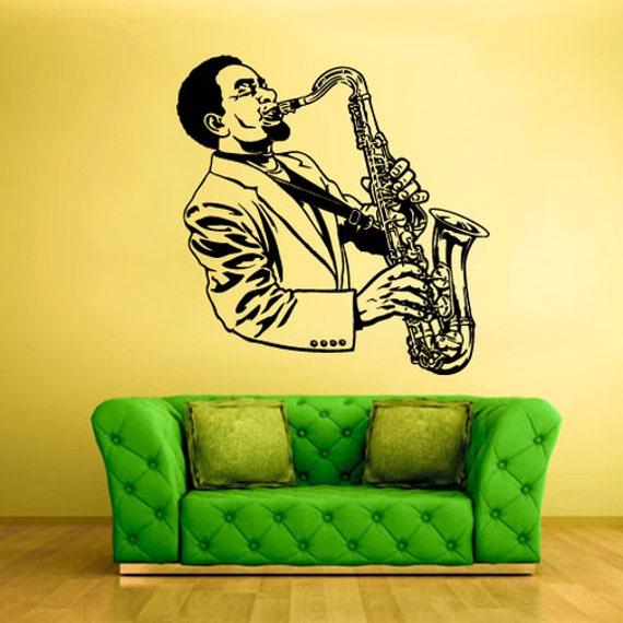 Rvz1468 wall sticker vinyle autocollant stickers sax saxophone for Autocollant mural francais